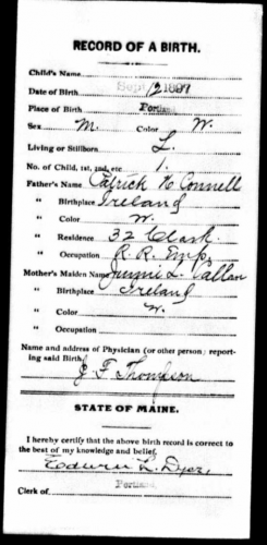 William Henry Connell--Maine, U.S., Birth Records, 1715-1922(12 sep 1897)