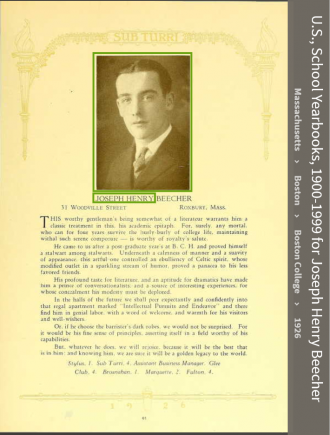 Joseph Henry Beecher--U.S., School Yearbooks, 1900-1999(1926)