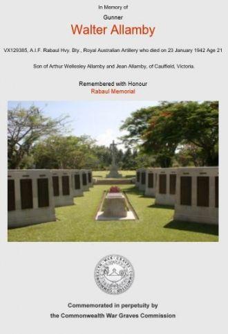 Walter Allamby memorial