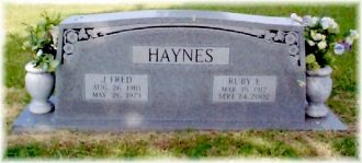 LANCASTER: Gravesite of Ruby and Fred Haynes