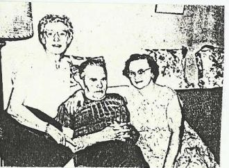 From left to right, Mary (Fromhart) Weigand, George Carl, & Mary (Bishop) Carl