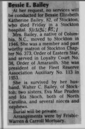 Bessie's Obituary