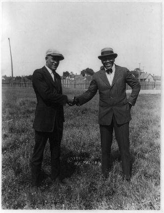 """[""""Tut"""" Jackson and Jack Johnson meet on battleground]"""