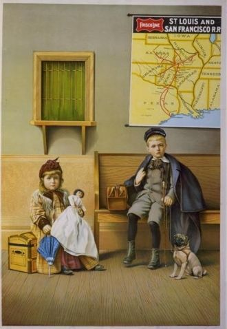 Girl holding doll and boy with dog