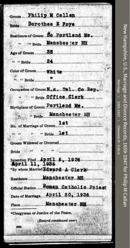 Philip John-Michael Callan--New Hampshire, U.S., Marriage and Divorce Records, 1659-1947 (Front)