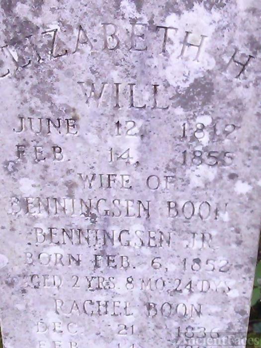 Elizabeth H. (Will) Boon grave