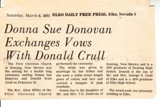 Donna (Donovan) & Donald Crull Wedding