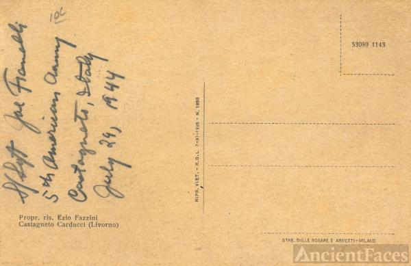 Sgt. Joe Fanelli World War II Postcard