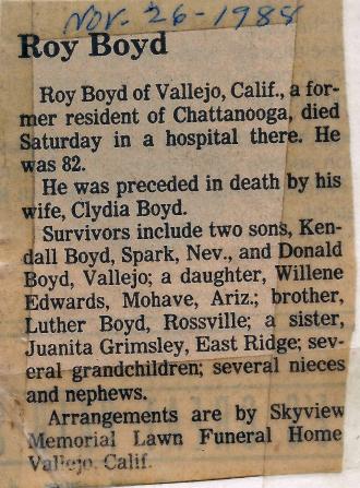 Roy Boyd Obituary