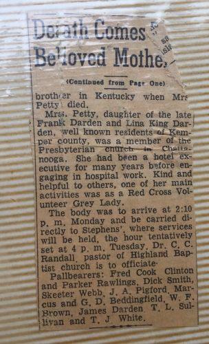 Mary Sue Darden Love Obituary pt 2
