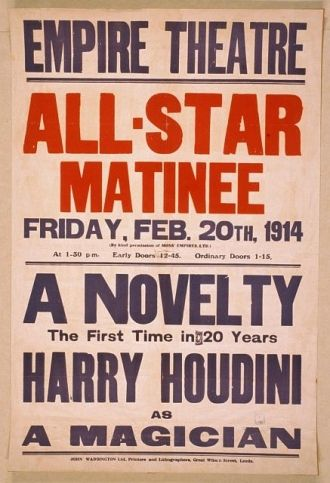 A novelty, the first in 20 years, Harry Houdini as a...