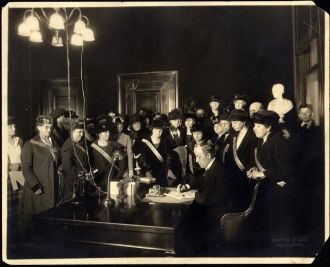 Governor Edwin P. Morrow signing the Anthony Amendment