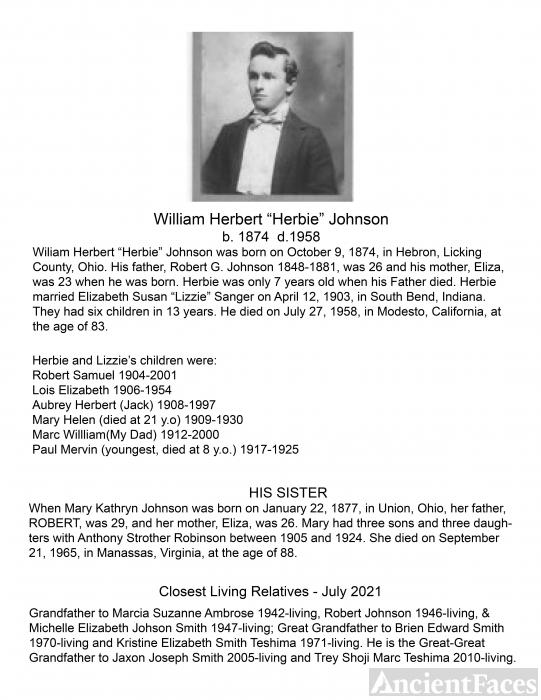 William Herbert Johnson 1874-1958 also known as Grandpa Johnson