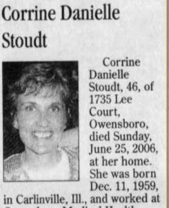 Corrine D Stoudt's obituary
