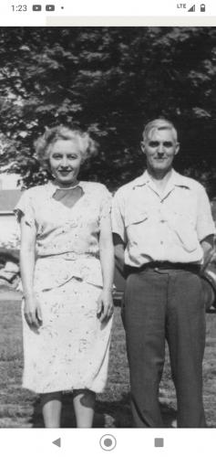 Viola Steiner 1949 with husband George Edgar Steiner, Sr. visiting his family in Ashaway,RI.