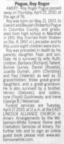 Roy Roger Pogue-- obituary