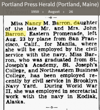 Nancy Maynes Barron--Portland Press Herald (Portland, Maine)(26 aug 1950)