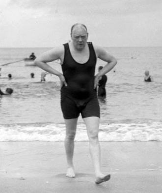 Winston Churchill at the beach.