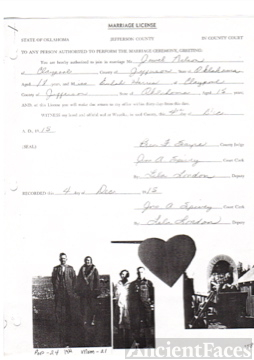 Marriage license of EULA MAE HARRIS AND JEWEL TRAVIS NELSON