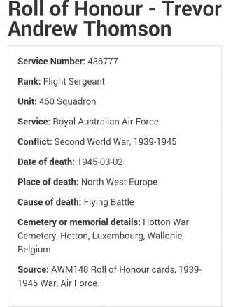 Trevor Andrew Thomson, Roll of Honor