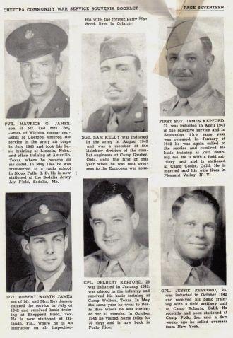 ted stafford's Army Book Kansas - J, K  surnames