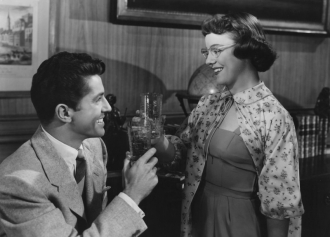 Farley Granger and Pat Hitchcock in STRANGERS ON A TRAIN.