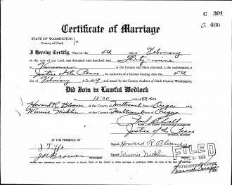Effie (Agee) Reynolds Marriage License
