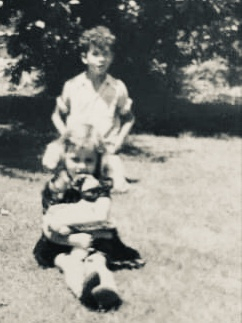 Marion (Stoddert) Rivers' daughter, Jo-Ann, w/ her uncle (my dad), Dorwin