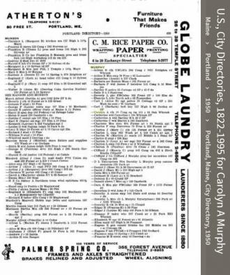 Carolyn Anne Murphy-- U.S., City Directories, 1822-1995(1950)