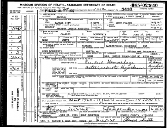 Charles C. Dougherty Death Certificate