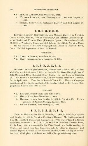 Ebenezer Huntington (b1764) & family