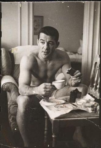 Rocky having breakfast