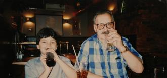 Grandpa Mike Rekush (born Rakush) with his grandson. Photo taken in Hamilton ON IN 1990.