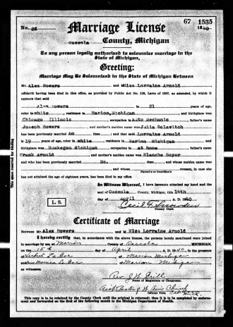 Lorraine (Arnold) and Alex Bowers Marriage Certificate