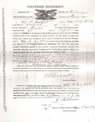 William J. Bartell enlistment papers