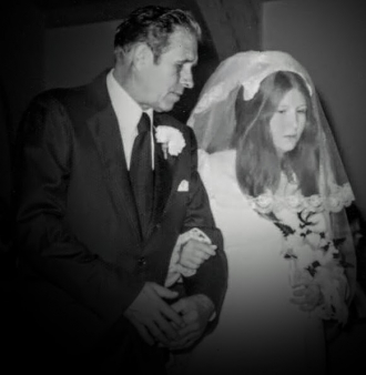 Edward c smith walking daughter Coreen smith down isle at wedding 1974