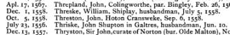 John Threston Will, 1558