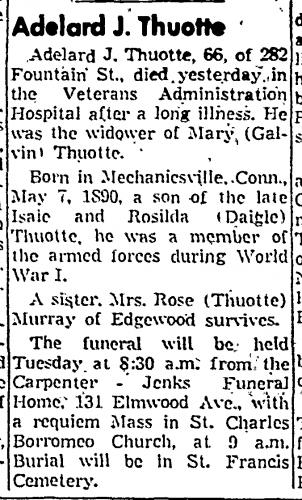 Adelard J. Thuotte Obituary