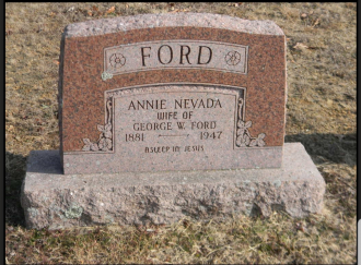 Anna Nevada Gann Ford & George Ford Gravestone