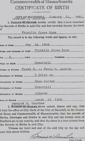 Franklin James Ryan, MA 1905