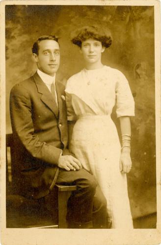 Frances J (Morrow) Snyder and John Amos Snyder-circa-1913  Frances age 18 John age 26