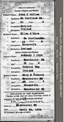 Philip John-Michael Callan--New Hampshire, U.S., Marriage and Divorce Records, 1659-1947(back)