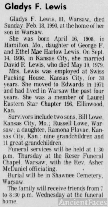 Gladys Faye (Lewis) Lewis Obituary