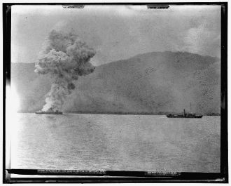Explosion of the Vizcaya, Battle of Santiago, July 3, 1898