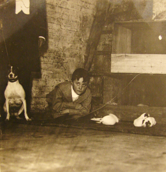 Boy With Found Dog and Her Puppies