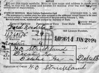 Harold Oscar Strickland vehicle registration