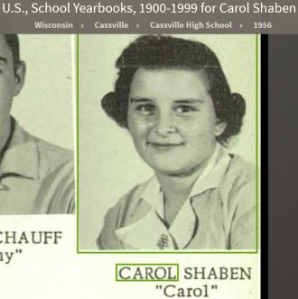 Carol Lee Shaben-Wentz--U.S., School Yearbooks, 1900-1999(1956)