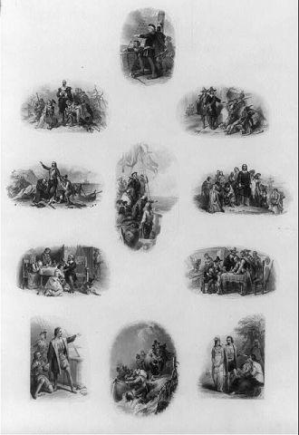 [Bank note vignettes showing pilgrims, Christopher...