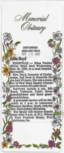 Edna Pauline Boyd Memorial Obituary