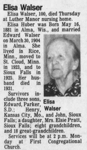 Elisa Walser Obituary